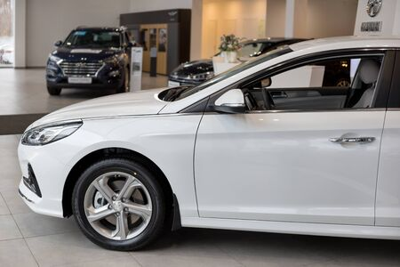 Russia, Izhevsk - October 10, 2019: New modern Sonata in the Hyundai showroom. Famous world brand. Standard-Bild - 134500768
