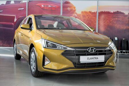 Russia, Izhevsk - October 30, 2019: New modern car Elantra in the Hyundai showroom. Famous world brand. Prestigious vehicles. Standard-Bild - 134500842