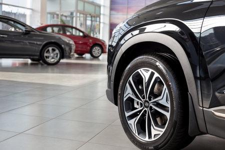 Russia, Izhevsk - October 30, 2019: New cars in the Hyundai showroom. Famous world brand. Prestigious vehicles. Standard-Bild - 134500952