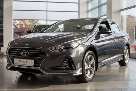 Russia, Izhevsk - October 30, 2019: New modern Sonata in the Hyundai showroom. Famous world brand. Prestigious vehicles. Standard-Bild - 134500954