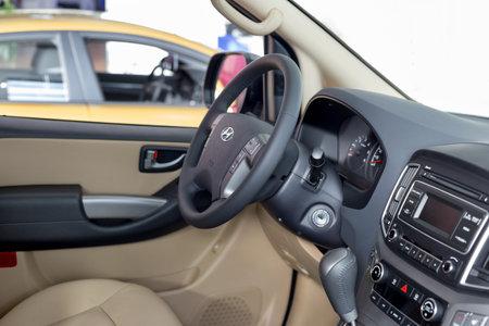 Russia, Izhevsk - October 30, 2019: Hyundai showroom. Interior of new H-1 minivan. Famous world brand. Modern transportation. Standard-Bild - 134500967