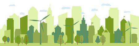 Ecological city and environment conservation. Green city silhouette. Renewable energy with a wind generators. Vector Illustration.