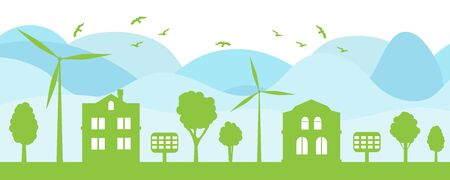Green city concept. Ecological house and environment conservation. Renewable energy with a wind generators. Vector Illustration.