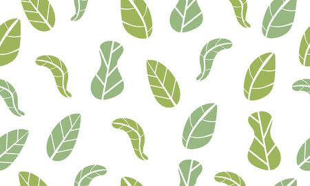 Seamless pattern from green leaves. Ecological concept and environment conservation. Isolated on a white background.
