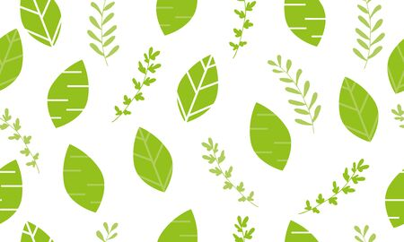 Seamless pattern from green leaves and plants. Ecological concept. Isolated on a white background. Illustration