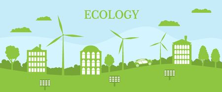 Green city concept. Ecological house and environment conservation. Renewable energy with a wind generators and solar panels. Vector Illustration.