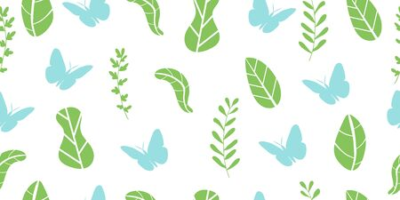 Abstract seamless pattern from leaves, plants and butterflies. Ecological concept. Isolated on a white background. Vector illustration.