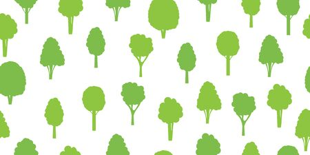 Seamless pattern from green trees. Ecological concept and environment conservation. Isolated on a white background. Vector illustration.