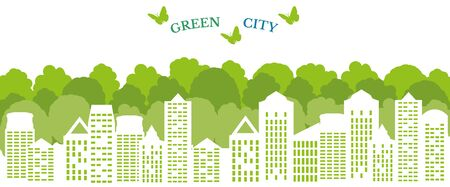 Ecological city and environment conservation. Green city concept. Vector Illustration.