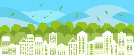 Green city concept. Ecological city with green trees and birds. Environment conservation. Vector Illustration. Illustration