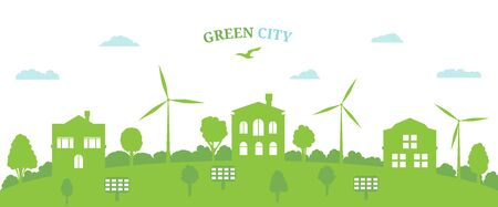 Green city concept and environment conservation. Renewable energy with a wind generators and solar panels. Vector Illustration.