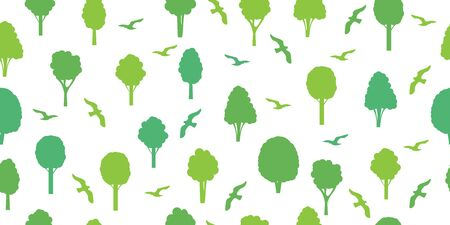 Seamless pattern from silhouettes of green trees and birds. Ecological concept and environment conservation. Isolated on a white background. Vector illustration. Illustration