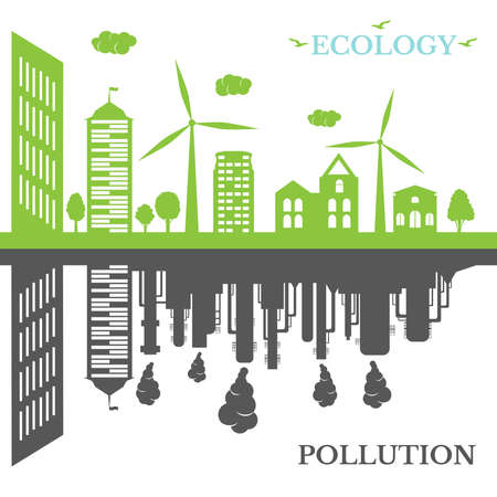 Ecological city against pollution. Green city concept and environment conservation. Renewable energy with a wind generators and solar panels.