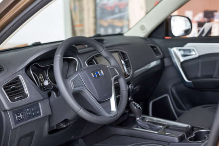Russia, Izhevsk - August 14, 2020: Geely showroom. Interior of new modern Geely Emgrand X7 car. Car manufacturer from China.