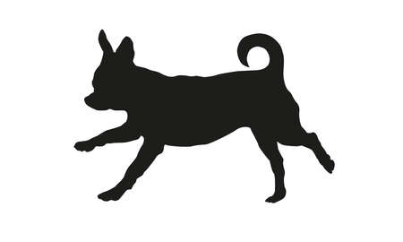 Black dog silhouette. Running chihuahua puppy. Isolated on a white background. Vector illustration.