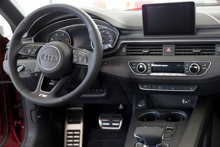 Russia, Izhevsk - September 11, 2019: Audi showroom. Interior of new modern Audi A4 Quattro. Volkswagen Auto Group. Famous world brand.