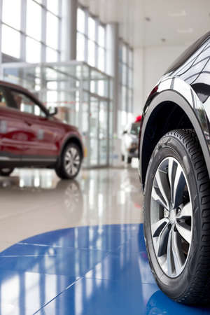 New modern cars at dealer showroom. Themed blur background with bokeh effect. Car auto dealership. Prestigious vehicles.