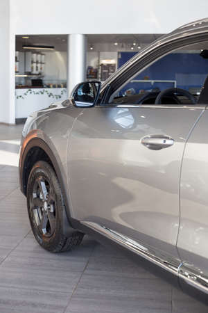 Russia, Izhevsk - February 17, 2021: Haval showroom. New modern F7X car. Back view. Cropped image. Car manufacturer from China.