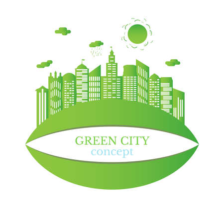 Green city concept. The combination of architecture with nature. Ecological city and environment conservation. 向量圖像
