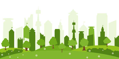 Ecological city and environment conservation. Green city silhouette with trees and beautiful flowers.