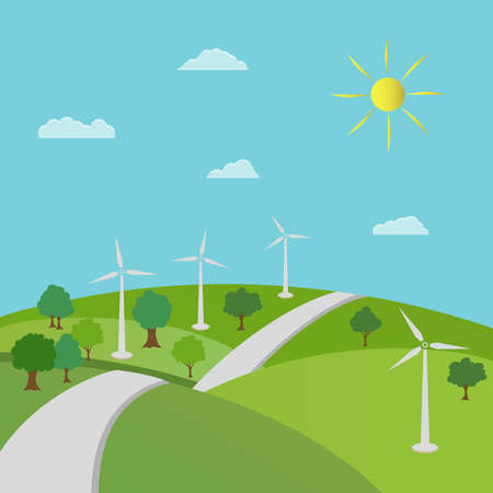 Ecology concept and environment conservation. Nature landscape with green trees and renewable energy with a wind generators. 向量圖像