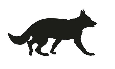 Running german shepherd dog puppy. Black dog silhouette. Isolated on a white background. Vector illustration.