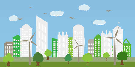 The combination of architecture with nature. Ecological city and environment conservation. Renewable energy with a wind generators. Vector Illustration.