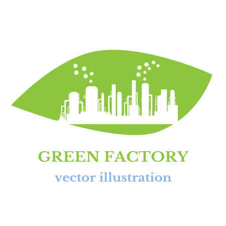 Environmentally friendly production without harmful emissions into the environment. Concept of environment conservation. Vector illustration.