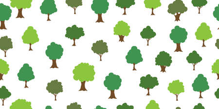 Seamless pattern from colorful deciduous trees. Ecological concept and environment conservation. Isolated on a white background. Vector illustration. 向量圖像