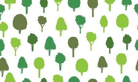 Seamless pattern from silhouettes green trees. Ecological concept and environment conservation. Isolated on a white background. Vector illustration. 向量圖像