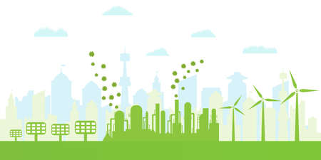 Silhouette of ecological city. Environmentally friendly production. Green energy with wind energy and solar panels. Concept of environment conservation. Vector illustration. Illustration