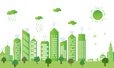 Ecological city and environment conservation. Green city silhouette with trees, wind energy and solar panels. Concept of environment conservation. Vector illustration.