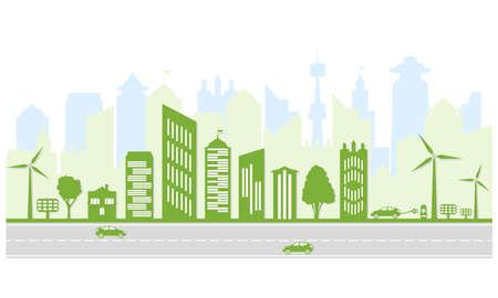 Ecological city and environment conservation. Green city silhouette with trees, wind energy and solar panels. Electric vehicles and charging station. Vector illustration. Illustration