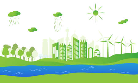 Silhouette of ecological city. Green energy with wind energy and solar panels. Concept of environment conservation. Vector illustration. Illustration
