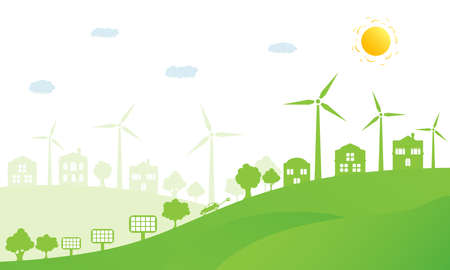 Ecology concept and environment conservation. Nature landscape, ecological houses and renewable energy with a wind generators and solar panels. Vector Illustration.