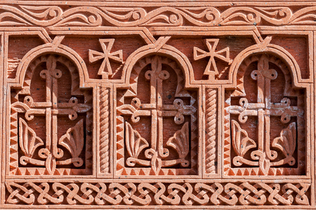 apostolic: khachkar pattern on volcanic tuff, texture, traditional Armenian cross Stock Photo
