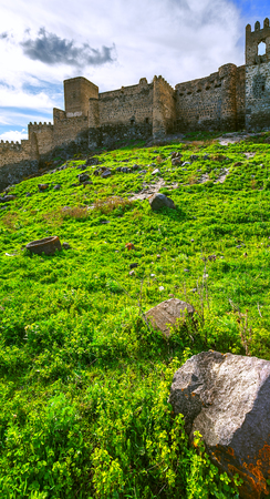 Landscape with view of the fortress of Khertvisi, age 5 Stock Photo