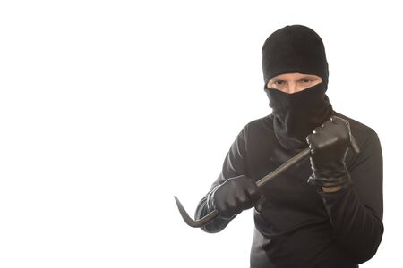 rudeness: thief has control over crowbar on the isolated background