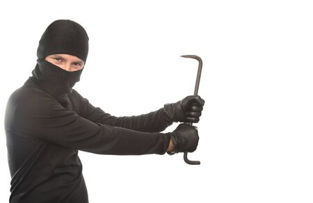 thief dancing with crowbar on the isolated background