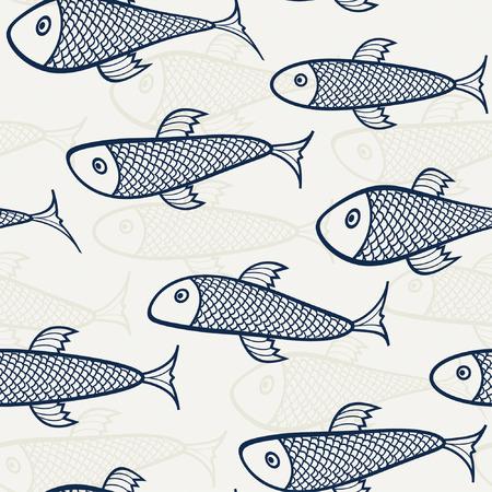azul - beige patrón del pescado Ilustración de vector