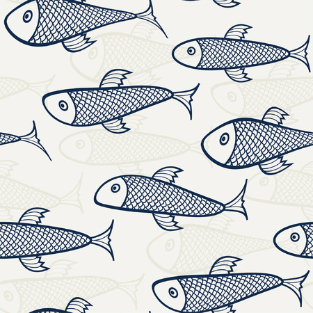 blue - beige pattern from fish Illustration