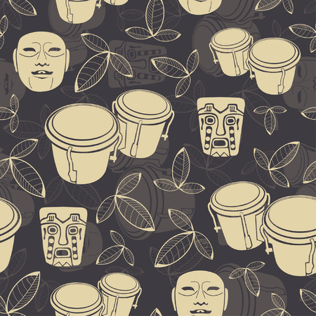 bongo drum: one pattern in precolumbine style Illustration