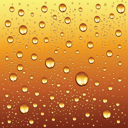 sweating: water drops on beer background Illustration