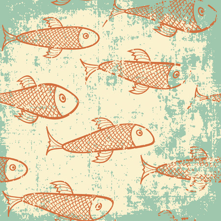 fish pattern in grunge style Illustration