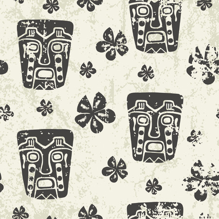 mayan culture: aztec pattern in grunge style Illustration