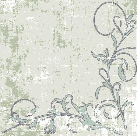 floral frame in grunge style Illustration