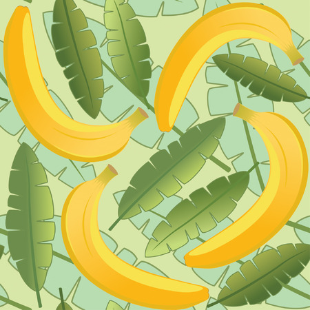 bananas and leaves in one pattern Illustration