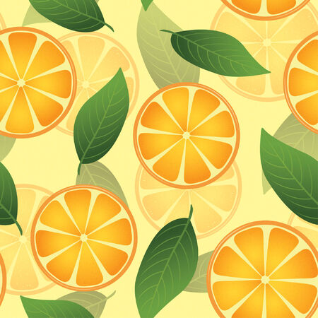 oranges: oranges and leaves in one pattern