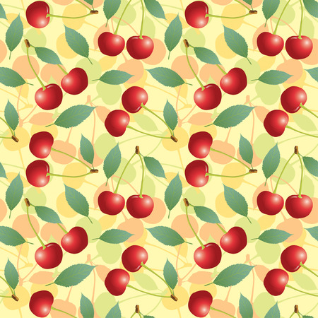 cherry and leaves in one pattern Vector