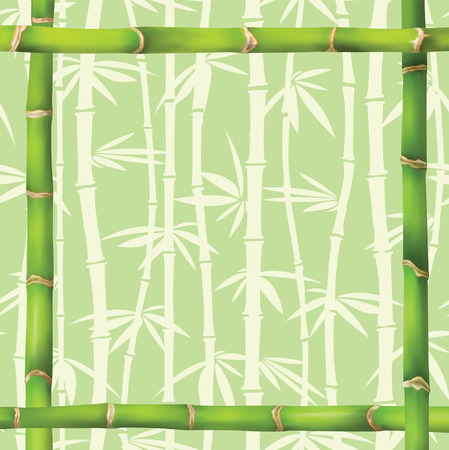 green frame in bamboo style Stock Vector - 4676775